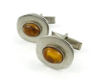 Vintage, Brown Swirl Cab, Cuff Links, Lucite, Silver Tone