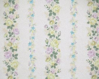 1950s Vintage Wallpaper - Floral Vintage Wallpaper Yellow and Lavender Roses, Floral Stripe