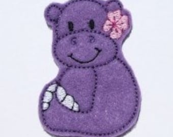 INSTANT DOWNLOAD Felt Miss Hippo Applique Embroidery designs