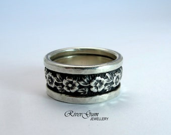 Wide Sterling Silver Ring Band, Ladies Wedding Band, Commitment Band, Oxidized Finish, Metalwork by RiverGum Jewellery