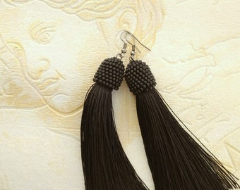 Black earrings Inspirational jewelry Oscar de la renta Long earrings Beadwork jewelry Style women earrings