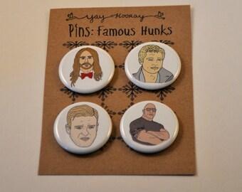 Famous Hunks, pin button badges, magnets hand drawn illustrations, Brad Pitt, The Rock, dwayne johnson, Jared Leto, Justin Timberlake