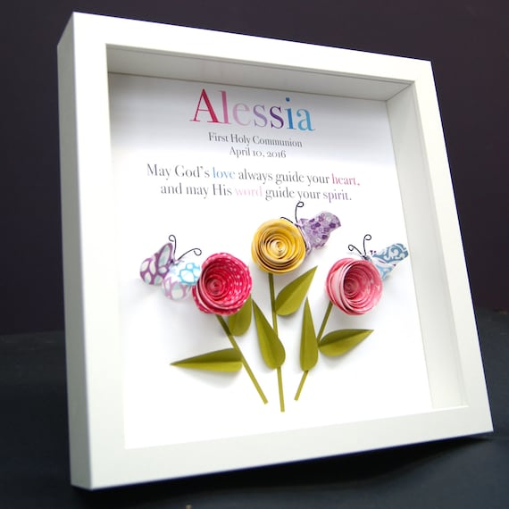 Personalized Name Origin And Meaning Paper Origami Shadowbox Frame With  Roses U0026 Butterflies Custom Art Newborn Baby Shower Nursery Girl Gift