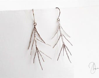Silver Pine Tree Earrings - Spindly Thin Leaf Dangle Earrings - Minimal Dainty Nature Inspired Jewellery - Silver or Gold