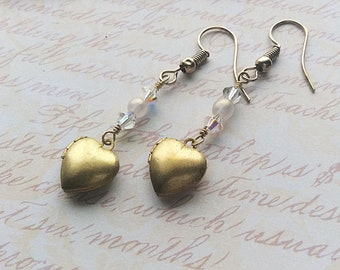 Heart Locket Earrings - pearl earrings heart earrings brass earrings