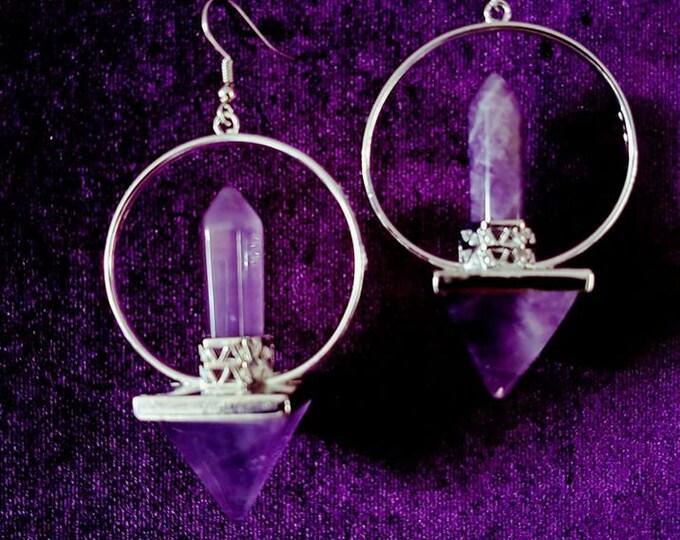 Lemurian Energy Earrings - spiritual occult amethyst gemstone gothic earrings atlantis lemuria