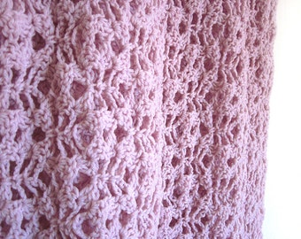 Pink Lacey Crochet Baby Blanket or Lap Afghan