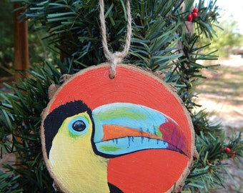 Toucan upclose hand painted wood slice ornament