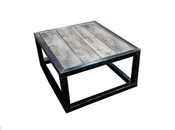 table basse bois vieilli et acier bross style loft. Black Bedroom Furniture Sets. Home Design Ideas
