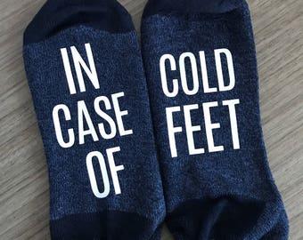 In Case of Cold Feet Wedding Socks Bride gift Groom Gift Wedding Day Custom Socks. Customizable Funny Socks