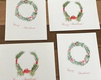 Set of 4 Christmas Cards , 4x5.5 Blank inside