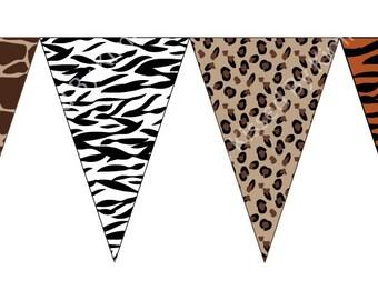 Baby Shower Banner - Animal Print Banner -Zebra Cheetah Leopard Print -FULL ALPHABET -PRINTABLE Baby Shower Banner  - Safari Party Supplies