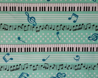 Turquoise white and polka dots keyboard piano fabric from Cosmo Japan Half Yard