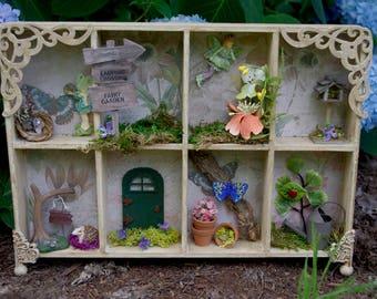 Fairy Garden Diorama Shelf,  Miniature Fairy World