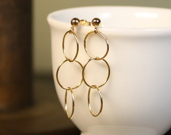 Simple Modern Gold-Filled Circle Dangle Post Earrings - Airy and Shiny