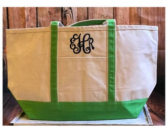 SALE | MONOGRAM MISTAKE | Sold As Is | Large Canvas Tote Bag | Grass Green Large Canvas Boat Tote