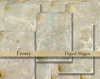 Winter Frost snow Christmas digital collage sheet old shabby paper worn tattered gift tags ATC printable background for scrapbooking crafts