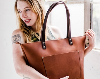 CINNAMON Leather Tote HUGE SALE  - Leather Bag Handmade in Portland, Full-Grain Cowhide- Award Winning Leather Tote Portland Leather Goods