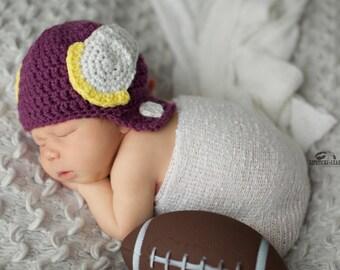 Minnesota Vikings Crochet Helmet Hat 0-6 MO