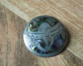 Inlaid Abalone Shell Sombrero Brooch Pendant