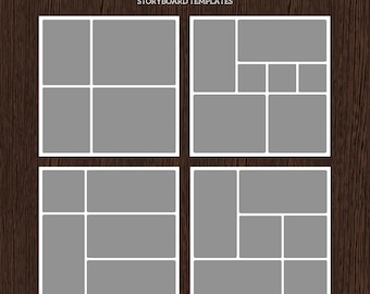 20x20 Photo Storyboard Templates - Photo Collage Template - PSD Template - Resize to 10x10 - For Photographers - Instant Download - S203