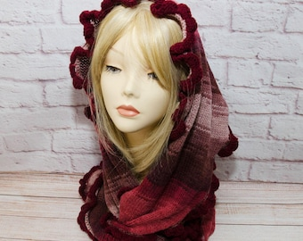 scarf  knit scarf  scarves womens scarves   womens scarf  fashion scarf ruffle scarf winter scarf triangle scarf bactus knitted bactus scarf