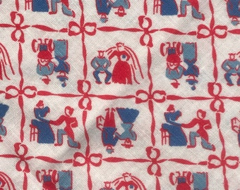 FQ Red Blue Man Woman Pioneer Life Ribbons Bows Vintage Feedsack Flour Sack Cotton Quilt Fabric