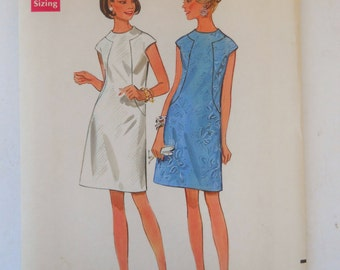1960s Vintage Butterick Sewing Pattern 4784 for Misses' One-Piece Dress in Size 16.Cut and Complete Retro fashion