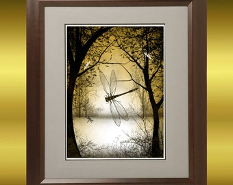 Fantasy Art - Tree Art - Dragonfly Art - Digital Painting -- Dragonfly -- Trees and Dragonflies