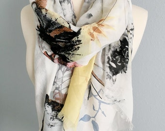 Spring-Butterfly Soft Scarf and Wrap use for 4 seasons, Bikini Wrap, Birthday gift,  Women's scarf, Spring and Summer Scarf, Vintage scarf.