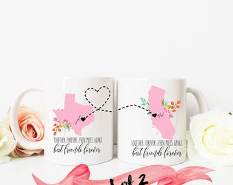 Long Distance Friendship Mug / Set of 2 / Totally Customizable BFF Best Friends Gift / Cute Quote on Back / 11oz or 15oz Sizes