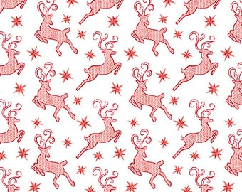 Contempo - Nordic Holiday - Red Reindeer  - 1886-09 - Fabric by the Yard