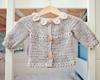 Crochet PATTERN - Petal Collar Cardigan