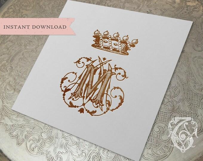 Vintage Crown Monogram M MM MMM Digital Download