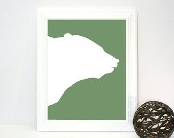Bear Silhouette, Instant Download, Printable Art Print, Sage Green, White, Wall, Decor, Modern Nursery, Rustic Contemporary, Animals