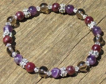 SAGITTARIUS POWER healing Stone Bracelet or Anklet with Amethyst, Garnet & Smoky Quartz!