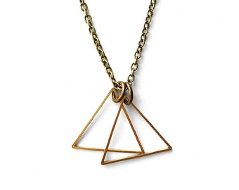 Brass Triangle Double Pendant Necklace - Men's Necklace - Simple Necklace - Triangle Necklace - Geometric Jewelry by Modern Out