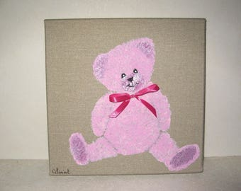 Free shipping! Pink Teddy bear painting