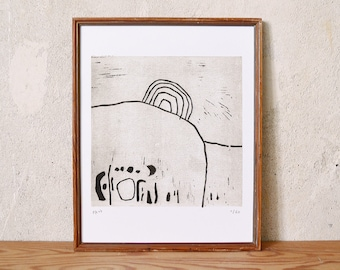 uncertain place 21 · original linocut on paper · handmade and signed · limited