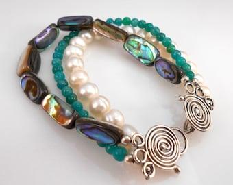 Abalone Pearl Amazonite 3-Strand Bracelet