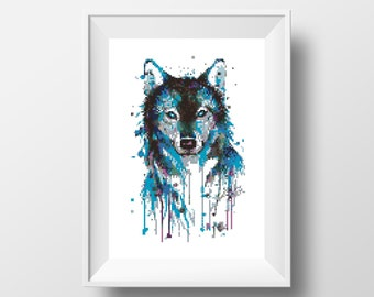 Wolf Cross Stitch Pattern Watercolor Art Counted Cross Stitch Modern Animal cross stitch Printable PDF Modern Embroidery room wall decor