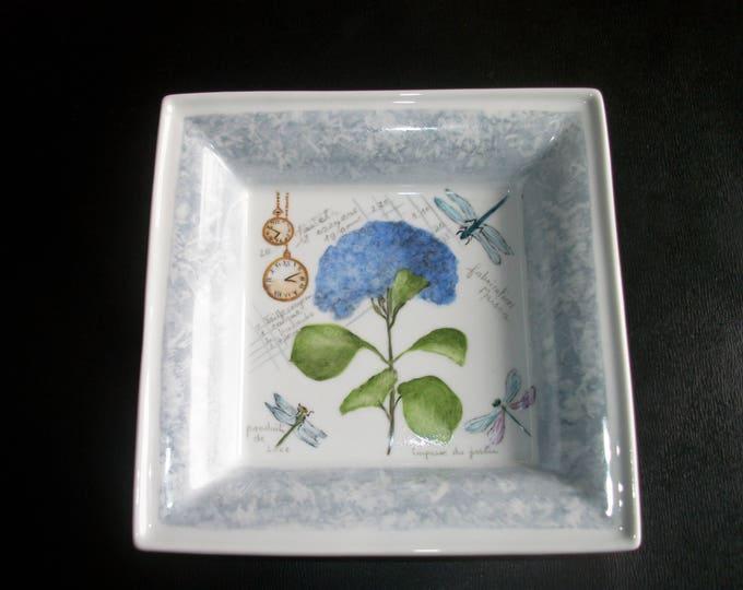 empty pockets / square / handpainted porcelain / flower / watch / vintage