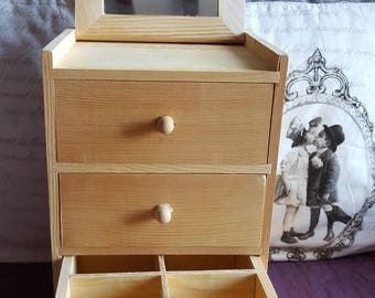 Jewelry box, 3 drawers and wall mirror, wood blank