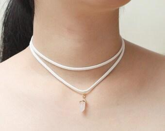 Rose Quartz Choker, White Layered Suede Choker, Pendulum Stone Choker, Two Strap Necklace