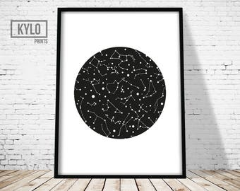 Constellation Print, Nursery Decor, Constellation Poster, Nursery Art, Kids Illustration, Constellation Art, Home Wall Art, Kids Room Art