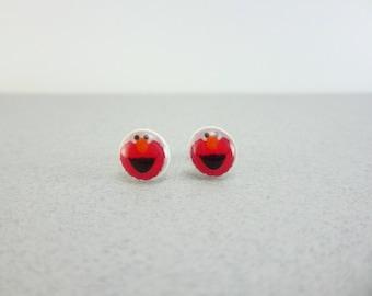 Elmo Earrings, Elmo Jewelry, Elmo Birthday, Sesame Street Jewelry, Sesame Street Earrings, Sesame Street Birthday