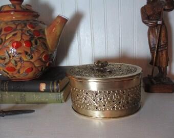 Pierced Floral Brass Box with Lid, Cricket Box, Pot Pourri Box, Boho, Staging