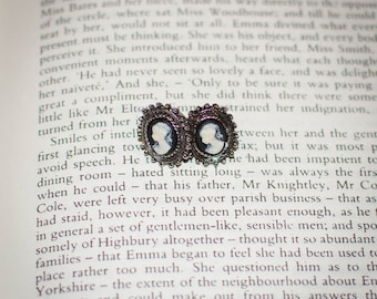 Black Jane Austen Style Dark Silver Cameo Earrings