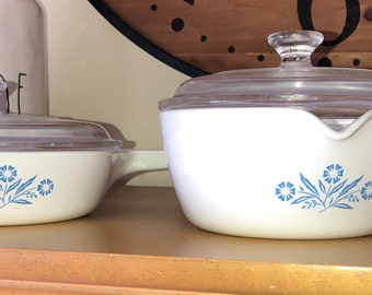 2 pc Vintage Corningware..Blue Cornflower