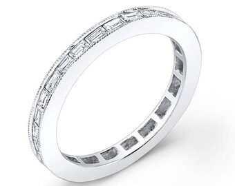 14K White Gold, Baguette Diamond Stackable ring
